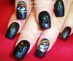 Hello!! Here is a nail art design tutorial of 3d teardrops or raindrops on matte black with rainbow eyes crying tears! Perfect for any occasion, everyone wil...
