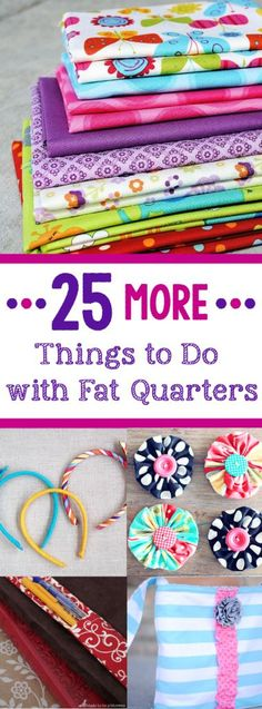 If you love sewing and want to use up some of your smaller pieces of fabric, these projects made with fat quarters are a perfect project for you. Try these 25 fun things to do with fat quarters that are quick and easy and fun to sew! Sewing Hacks, Sewing Tutorials, Sewing Crafts, Sewing Patterns, Sewing Ideas, Sewing Tips, Quilting Projects, Craft Projects, Scrap Fabric Projects