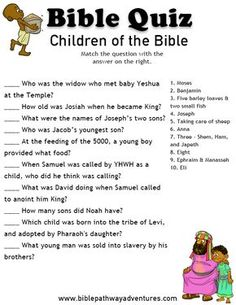 Enjoy our free printable Bible Quiz, Children of the Bible. Learn more about Jesus and other children in the Torah and Bible scriptures. Bible Study For Kids, Bible Lessons For Kids, Kids Bible, Sunday School Kids, Sunday School Lessons, Idees Cate, Bible Quiz, Bible Trivia Quiz, Bible Teachings