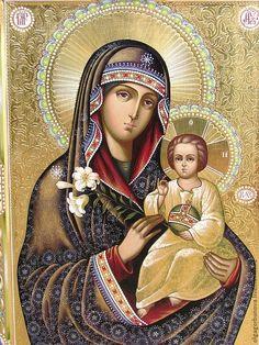 """Купить Икона Пресвятой Богородицы """"Неувядаемый Цвет"""" - икона, иконопись, богородица, религия, вера, Спаситель"""