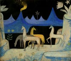 zrzavý jan - Horses in a Moon Country Roman Catholic, Mystery, Moose Art, Horses, Country, Painters, Illustration, Pictures, Moon