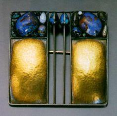 Josef Hoffmann (Austrian, 1870-1956) for Wiener Werkstätte, Square Brooch, silver lattice, repoussé gold, and opal, c. 1905.