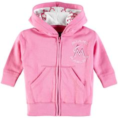 Miami Marlins Soft as a Grape Newborn & Infant Embroidered Logo Full-Zip Hoodie - Pink - $23.99