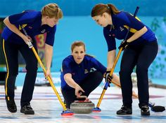 Maria Prytz, Christina Bertrup and Maria Wennerstroem of Sweden compete during the women's curling semifinals. Sochi 2014 Day 13 - Curling Women's Semifinals.