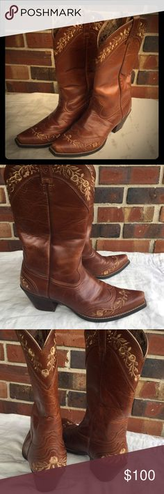 Sale! ARIAT cowboy boots size 10, rose embroidery Leather cowboy boots with small heels from Ariat, size 10. Super comfy insoles. Rarely worn. Good condition, some scratches on toes. Thanks for shopping! Ariat Shoes Heeled Boots