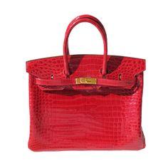 35cm Hermès Shiny Braise Porosus Crocodile Birkin Bag Handbag