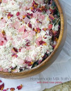 A warm bath is a great way to pamper yourself. Try this homemade milk bath recipe with dried rose petals. Natural beauty made easy!