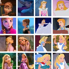 Anna, Rapunzel, Cinderella, and Alice