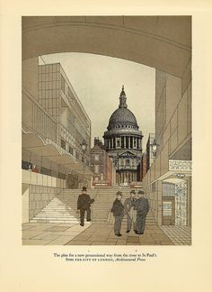 St Paul's from the river bank - illustration by Gordon Cullen, 1949 by mikeyashworth, via Flickr