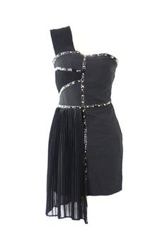 One-shoulder Fitted Rivets Chiffon Black Dress
