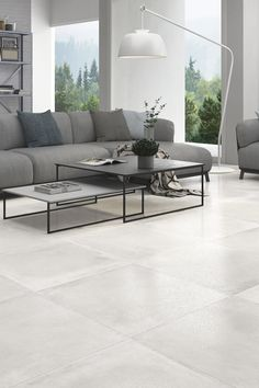 Classy Living Room, Living Room White, Grey Floor Tiles, Grey Flooring, House Tiles, Living Room Flooring, Living Room Lighting, Decoration, Porcelain Floor