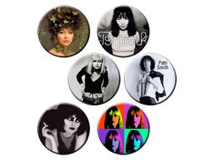 Indie Women Badge Pack #6 Set of Six Female Indie Musicians Pin-Back Buttons - Lady Rockers and Artists - KATE BUSH • BJORK • BLONDIE (Debby Harry) • PATTIS SMITH • SIOUXSIE (and the Banshees) • NICO by psychedelictara, $10.00