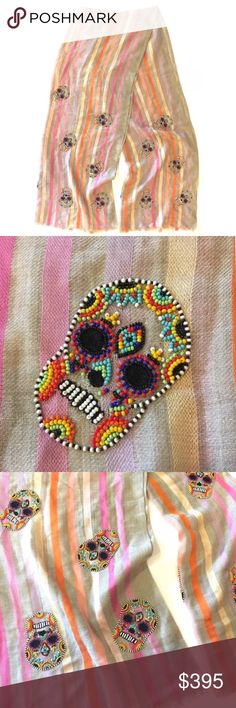 Selling this Janavi Hand Beaded Sugar Skull  Scarf Wool Silk on Poshmark! My username is: ilovemycows. #shopmycloset #poshmark #fashion #shopping #style #forsale #Janavi #Accessories