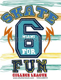 miami skate for fun, college league, t-shirt print poster vector illustration