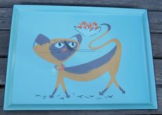 Mid century modern Siamese cat enamelware tray, large, turquoise paint with black trim, mod kitty, unusual, hard to find, 1950's-'60's era