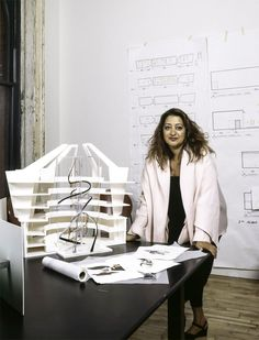 Zaha Hadid with proposed site-specific intervention for the Guggenheim's 1992 exhibition <em>The Great Utopia: The Russian and Soviet Avant–Garde, 1915–1932</em>. Photo: David Heald