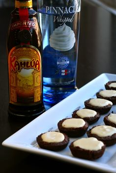 White Russian Pudding Shots...served in brownie bites. The Dude abides.