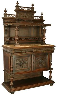 ANTIQUE FRENCH RENAISSANCE SERVER/BUFFET, CARVED WALNUT, MARBLE SLAB TOP