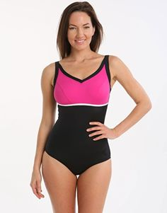 Halocline Nancy Longer Length Swimsuit   Black And Pink