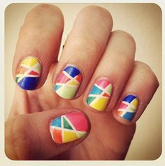 FRIDAY FUN-DAY!    Do something creative with your nails and try a fun design! Using multiple colors and geometric shapes can create a super cool look. Like this one, for example.