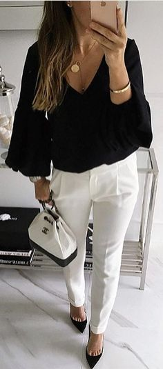 #winter #outfits black v-neck long-sleeved blouse with white pants