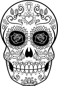 Day Of The Dead Coloring Pages Printable - Free Coloring Sheets Ausmalbilder Tag der Toten Fortgesch Skull Coloring Pages, Free Coloring Sheets, Printable Adult Coloring Pages, Coloring Pages To Print, Coloring Book Pages, Dibujos Sugar Skull, Sugar Skull Art, Sugar Skulls, Sugar Skull Decor