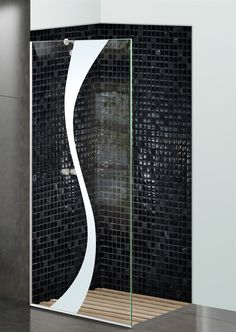 Shower Divider Panel featuring the Curvature design in the 1D Positive Clear effect by Sans Soucie Art Glass. Design elements are sandblast etched on the top surface of smooth, clear glass, and are solid white shapes.  This effect is considered semi-private, as the clear glass background area of the glass, will vary by design.