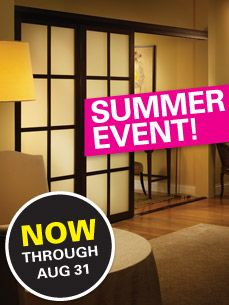 Our red hot SUMMER EVENT starts today! Exceptional savings on #closetdoors, #roomdividers, #barndoors, and more!    #slidingdoorco, #sale    http://www.slidingdoorco.com/summer-event-2012