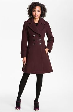 Love the aubergine color and flared skirt - Fleurette Double Breasted Wool Coat available at #Nordstrom