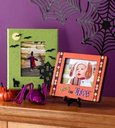 Halloween Photo Frames...These would be cute to take a pic of the kids each year; then display  in these frames each Halloween as part of the decor,