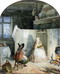 "George Cruikshank (1792-1878), ""Cinderella by the Fireside with her Fairy Godmother"""