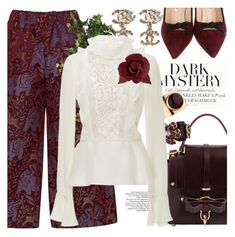 Plum picks by pensivepeacock on Polyvore featuring polyvore, fashion, style, Giambattista Valli, VIVETTA, Manolo Blahnik, Niels Peeraer, Chanel and OKA