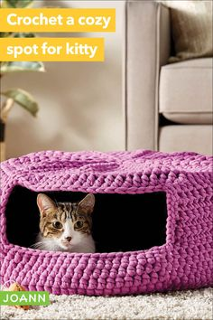 Your furry feline loves places to hide. Crochet this comfy cat bed that serves double duty - snoozes & a secret spot! Crochet Patron, Knit Crochet, Crochet Hats, Crochet Projects, Craft Projects, Projects To Try, Hair Growth Cycle, Body Treatments, Crochet Animals