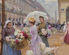 La Marchande De Fleurs, Rue de Rivoli (1892) by Louis Marie de Schryver ~ French Artist 1862-1942