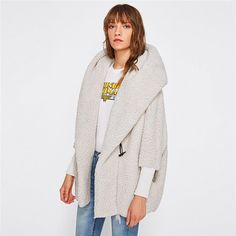 Hooded Outwear Winter Newest Fashion Design Women's Apricot Batwing Long
