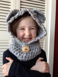 Super soft Crocheted Child's Hooded Cowl with Ears by ACozyCrochet, $30.00