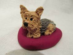 Hand Sculpted Polymer Clay Yorkie Dog by JesseMcCoyRoberts on Etsy