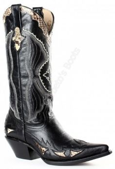 Corbeto's Boots | 129 Riporto High Noir-Piton Natural | Bota vaquera Go West para mujer piel de cabra y serpiente | Go West womens black goat and snake skin cowboy boots Cowboy Shoes, Cowboy Boots Women, Cowgirl Boots, Western Boots, Rodeo Chic, Motorcycle Boots, Designer Boots, Cool Boots, Fashion Boots