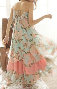 Flowers Print Back Hollow-out Spaghetti Straps Maxi Chiffon Beach Dress