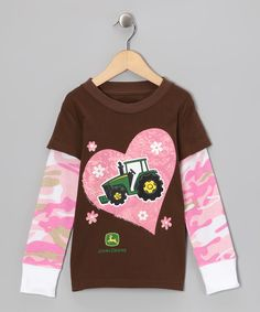 13cde1daf Brown & Pink Camo Tractor Layered Tee - Girls Pink Camo, Cute Girl Outfits,