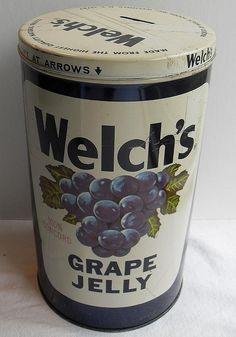 Vintage Welch's Grape Jelly Jar Metal Toy Bank by Christian Montone, via… Grape Jelly, Jelly Jars, My Childhood Memories, Sweet Memories, School Memories, Tin Can Alley, Vintage Tins, Vintage Food, Vintage Stuff
