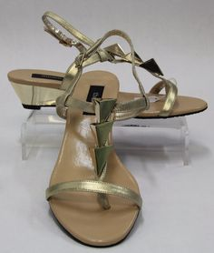 THEME, Gold Leather Strappy Sandal Wedge Shoe w/ Gold Hardware Size 8.5M 460141 #Theme #PlatformsWedges