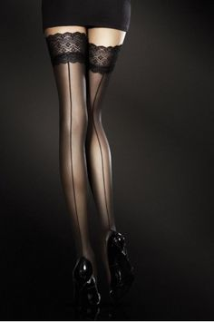Black thigh-high stockings, lace tops, seam up the back.very sexy! Beautiful Legs, Beautiful Women, Beautiful Things, Amazing Legs, Mode Shoes, Mein Style, Black Stockings, Stockings Lingerie, Sexy Lingerie