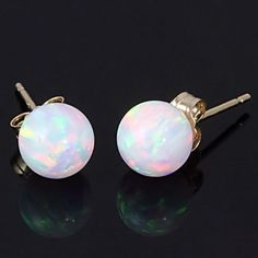 6mm Australian Fiery White Opal Ball Stud Post Earrings 14K White or Yellow Gold for $61.00 -- Aren't these so cool?! I'd love to have these in white gold!