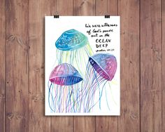 Watercolor Jellyfish Scripture Printable - 8x10 by LittlePictureFrame on Etsy
