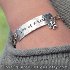 Personalized ID bracelet - custom word bracelet - custom mantra bracelet - stamped metal jewelry - name ID bracelet - tLove Squared Designs by LoveSquaredDesigns on Etsy https://www.etsy.com/listing/216420243/personalized-id-bracelet-custom-word