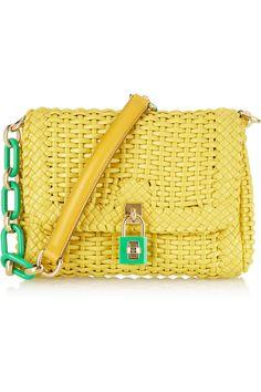 Dolce & Gabbana|Woven coated leather shoulder bag|NET-A-PORTER.COM