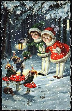 Lovely old christmas postcard! Vintage Christmas Images, Old Christmas, Old Fashioned Christmas, Christmas Scenes, Christmas Gnome, Victorian Christmas, Vintage Holiday, Christmas Pictures, Christmas Greetings