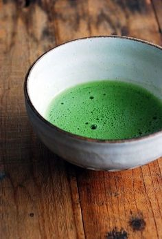 Japanese matcha tea.  such an incredibly beautiful color