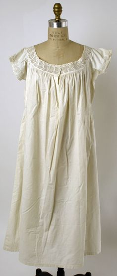 1861-65 chemise with broderie Anglaise to sleeves and neckband. Met Museum.